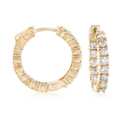 "3.00 ct. t.w. CZ Inside-Outside Hoop Earrings in 14kt Gold Over Sterling. 7/8"", , default"