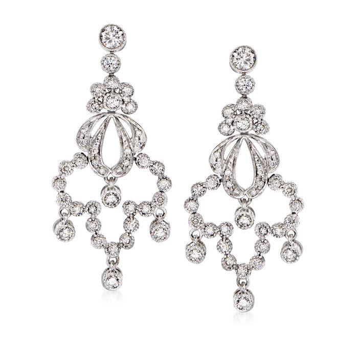 C. 1980 Vintage 1.50 ct. t.w. Diamond Chandelier Earrings in 14kt White Gold