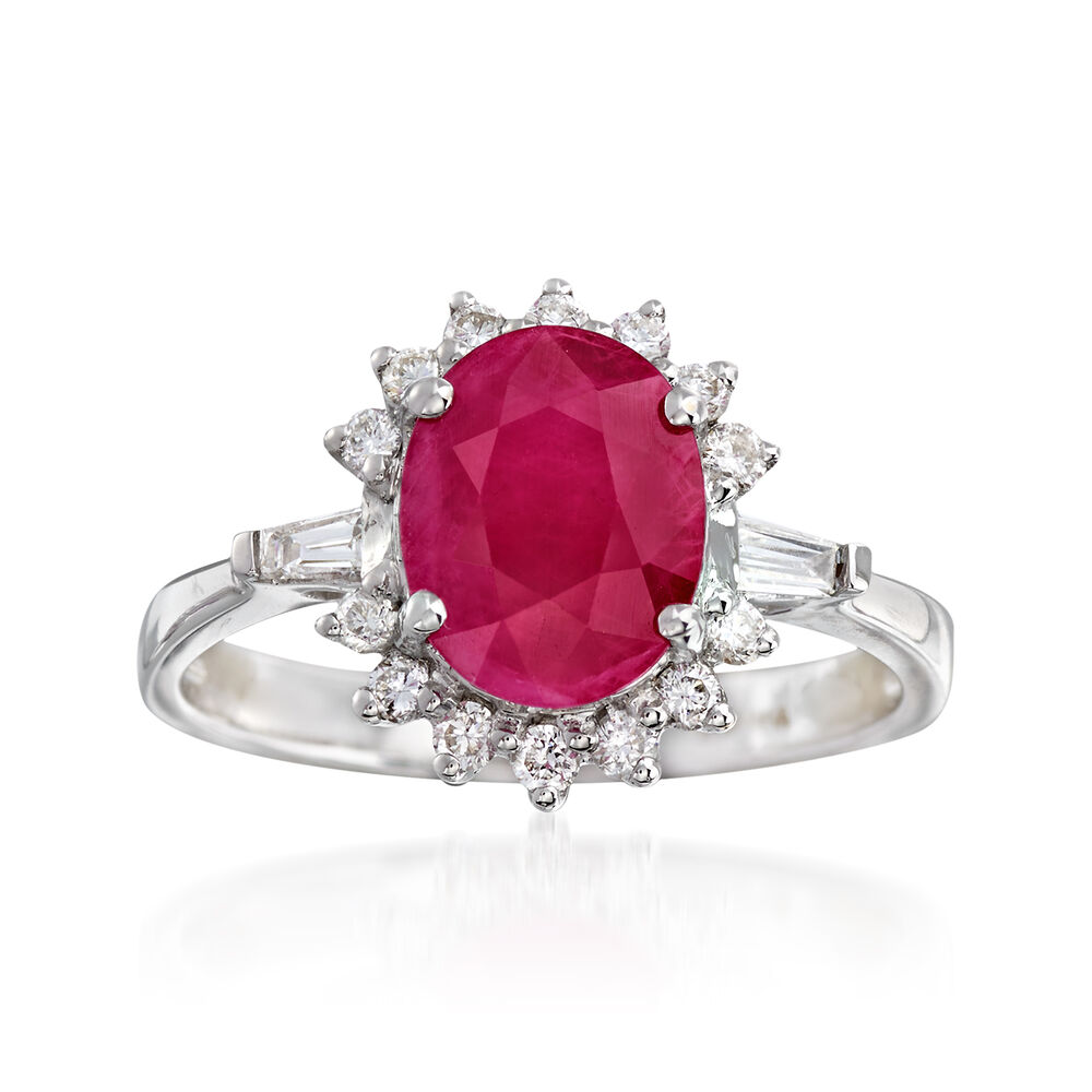 fd4aa765c1ca6 2.10 Carat Burmese Ruby and .32 ct. t.w. Diamond Ring in 18kt White Gold