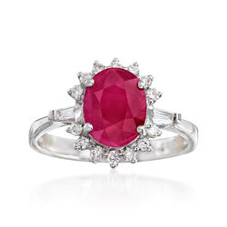 2.10 Carat Burmese Ruby and .32 ct. t.w. Diamond Ring in 18kt White Gold, , default