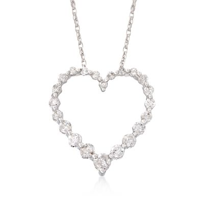 .50 ct. t.w. Diamond Heart Pendant Necklace in 14kt White Gold, , default