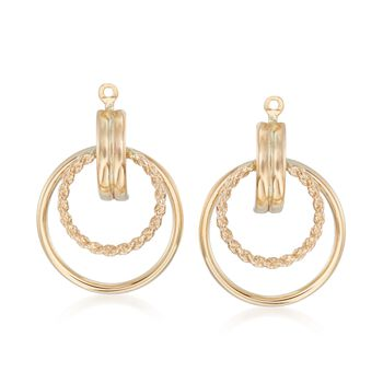 14kt Yellow Gold Double Circle Earring Jackets, , default