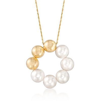 8-8.5mm Cultured Pearl Pendant Necklace with 14kt Yellow Gold