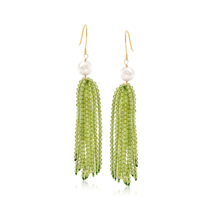 Cultured Pearl and 30.00 ct. t.w. Peridot Tassel Drop Earrings in 18kt Gold Over Sterling, , default
