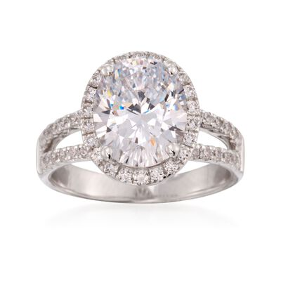 3.50 ct. t.w. CZ Halo Ring in Sterling Silver, , default