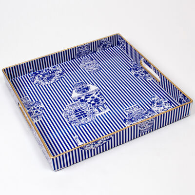 Blue Chinoiserie Square Tray, , default