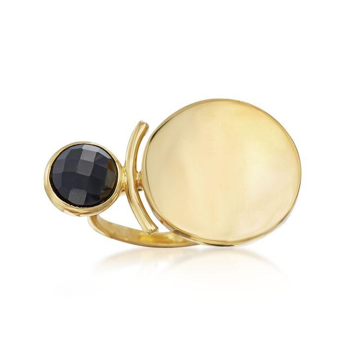 Black Onyx Disc Ring in 18kt Gold Over Sterling, , default