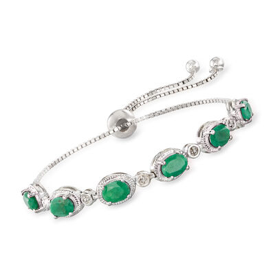 5.00 ct. t.w. Emerald Bolo Bracelet with Diamond Accents in Sterling Silver