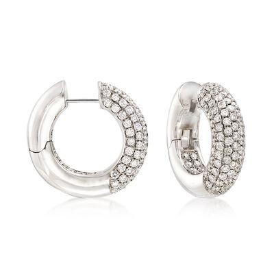 4.45 ct. t.w. Diamond Hoop Earrings in 14kt White Gold, , default