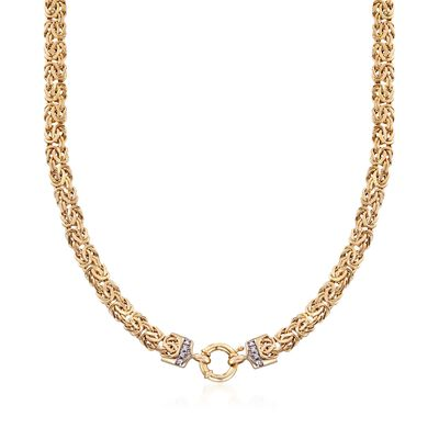 14kt Yellow Gold Byzantine Necklace with Diamond Accents