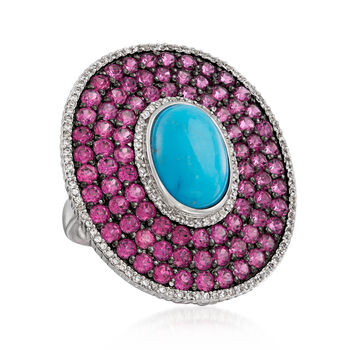 Stabilized Turquoise and 7.25 ct. t.w. Multi-Gem Frame Ring in Sterling Silver, , default