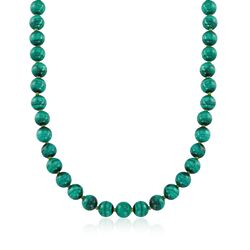 "Green Malachite Bead Necklace in 14kt Yellow Gold. 16"", , default"