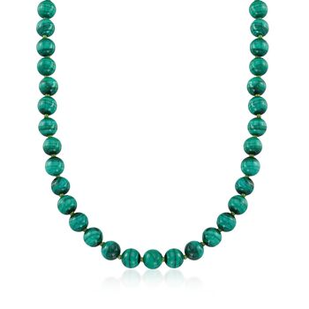 """Green Malachite Bead Necklace in 14kt Yellow Gold. 16"""", , default"""
