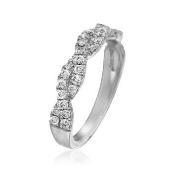 Henri Daussi .42 ct. t.w. Diamond Twisted Wedding Ring in 18kt White Gold, , default