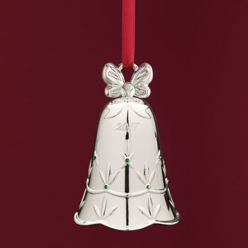 """Waterford 2017 Annual """"Lismore"""" Silver Plate Bell Ornament - 7th Edition, , default"""