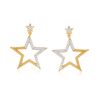 .25 ct. t.w. Diamond Star Drop Earrings in 18kt Gold Over Sterling