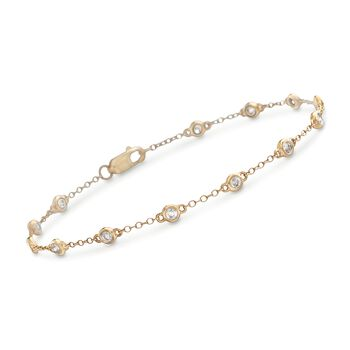 ".50 ct. t.w. Bezel-Set Diamond Station Bracelet in 14kt Yellow Gold. 7"", , default"