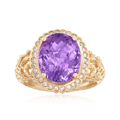 4.50 Carat Amethyst and .20 ct. t.w. Diamond Ring in 14kt Yellow Gold, , default