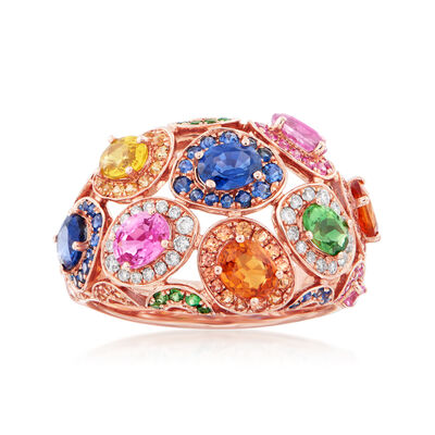 3.30 ct. t.w. Multicolored Sapphire and .16 ct. t.w. Diamond Ring in 14kt Rose Gold, , default