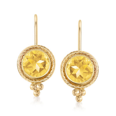 1.50 ct. t.w. Citrine Drop Earrings in 14kt Yellow Gold, , default