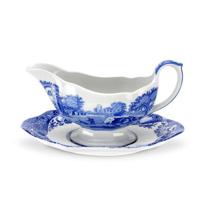 "Spode ""Blue Italian"" Gravy Boat and Stand"