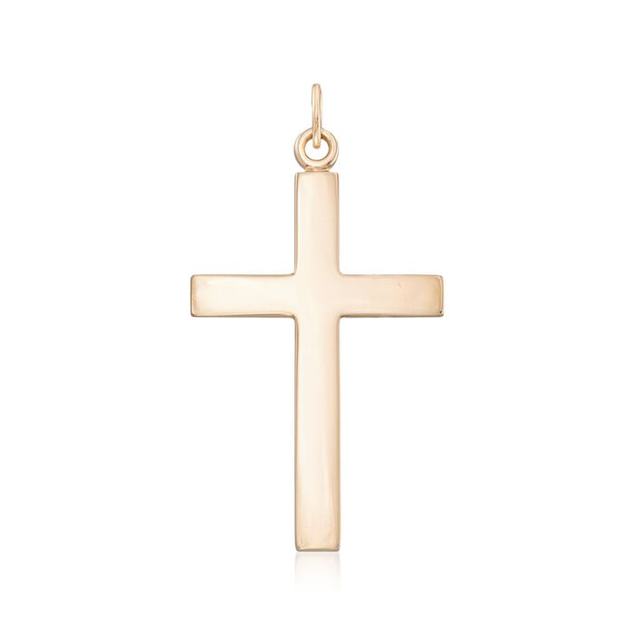 Men's 14kt Yellow Gold Large Cross Pendant, , default