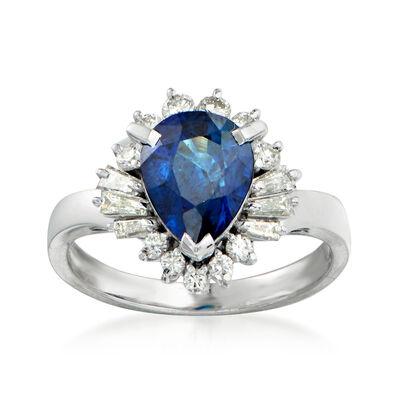 C. 1980 Vintage Tasaki 1.96 Carat Sapphire and .50 ct. t.w. Diamond Ring in Platinum