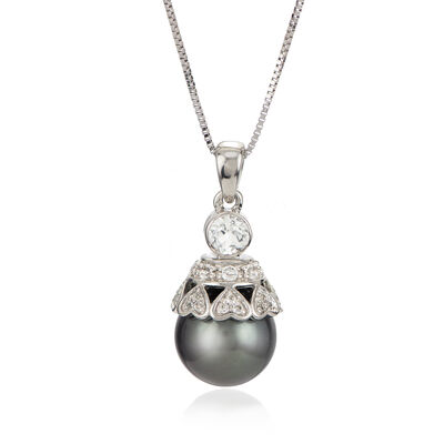 Black Cultured Tahitian Pearl and .50 ct. t.w. White Topaz Pendant Necklace in Sterling Silver, , default