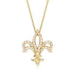 Roberto Coin .25 ct. t.w. Diamond Fleur De Lis Necklace in 18kt Yellow Gold, , default