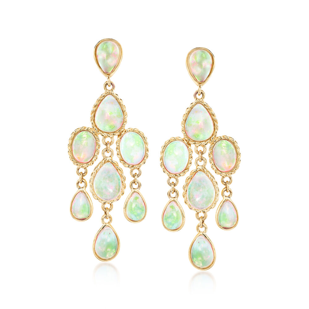 Ethiopian Opal Chandelier Earrings In 14kt Yellow Gold Default