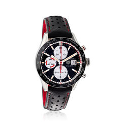 TAG Heuer Carrera Men's 41mm Auto Chronograph Stainless Steel Watch With Black Leather, , default