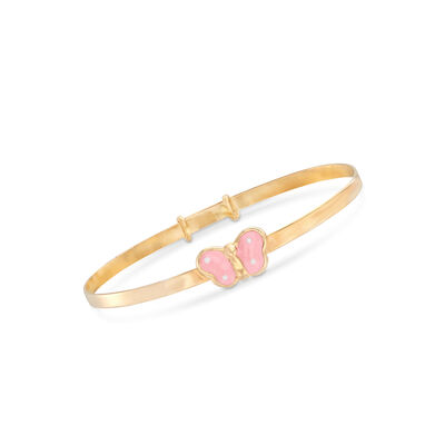Children's Butterfly Bangle Bracelet in 14kt Yellow Gold, , default