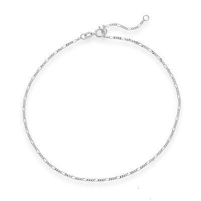 14kt White Gold Figaro Chain Anklet, , default