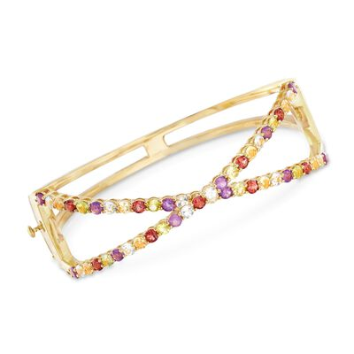 4.60 ct. t.w. Multi-Stone Open Crisscross Bangle Bracelet in 18kt Gold Over Sterling, , default