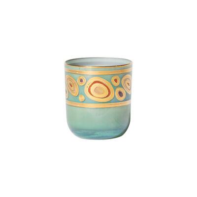 "Vietri ""Regalia"" Aqua Double Old-Fashioned Glass"