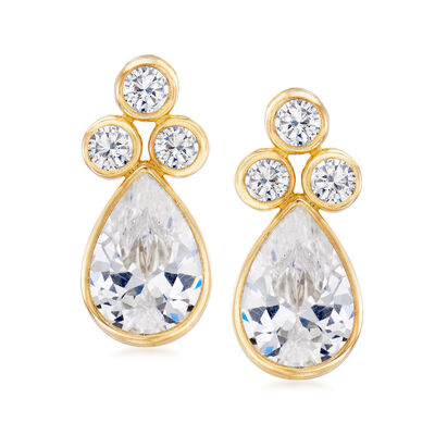 4.60 ct. t.w. Bezel-Set CZ Drop Earrings in 14kt Yellow Gold