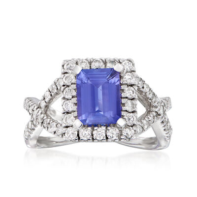 1.60 Carat Tanzanite and .78 ct. t.w. Diamond Ring in 14kt White Gold