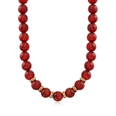 C. 1991 Vintage 12mm Carnelian Bead Necklace With British Hallmark in 9kt Yellow Gold, , default