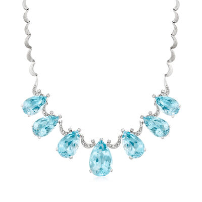 C. 1975 Vintage 82.80 ct. t.w. Aquamarine and 1.15 ct. t.w. Diamond Necklace in 14kt White Gold