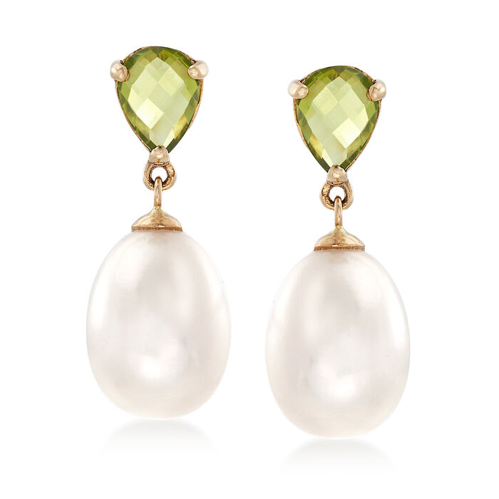 1.90 ct. t.w. Peridot and 10-10.5mm Cultured Pearl Drop Earrings in 14kt Yellow Gold , , default