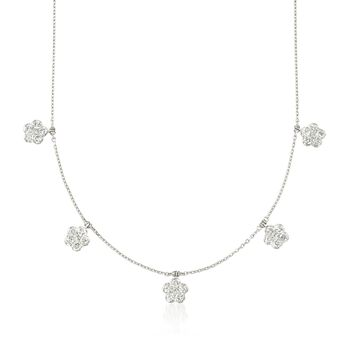 """1.90 ct. t.w. Diamond Floral Station Necklace in 14kt White Gold. 16"""", , default"""