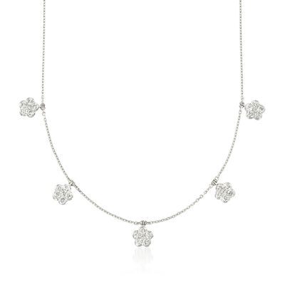 1.90 ct. t.w. Diamond Floral Station Necklace in 14kt White Gold, , default
