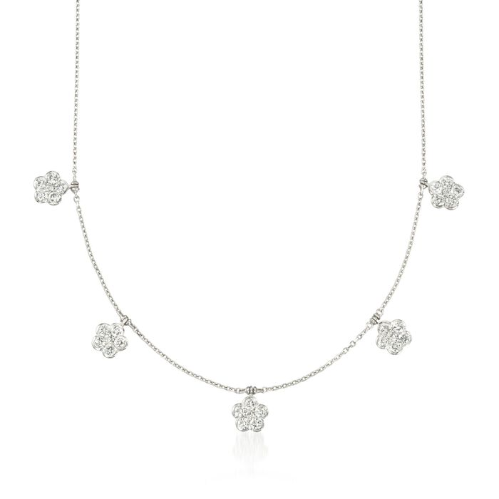 "1.90 ct. t.w. Diamond Floral Station Necklace in 14kt White Gold. 16"", , default"