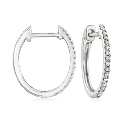 .15 ct. t.w. Diamond Hoop Earrings in 14kt White Gold