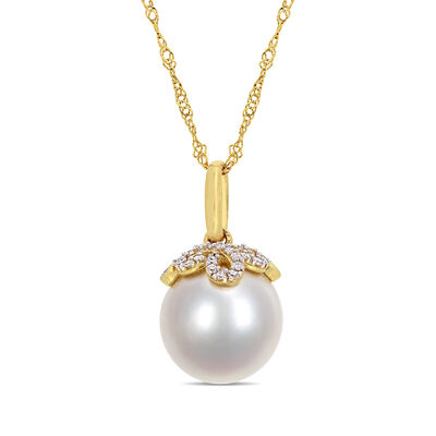 10-11mm Cultured South Sea Pearl and Diamond-Accented Pendant Necklace in 14kt Yellow Gold