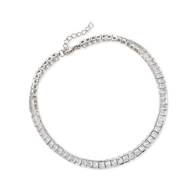 10.35 ct. t.w. Princess-Cut CZ Tennis Anklet in Sterling Silver, , default