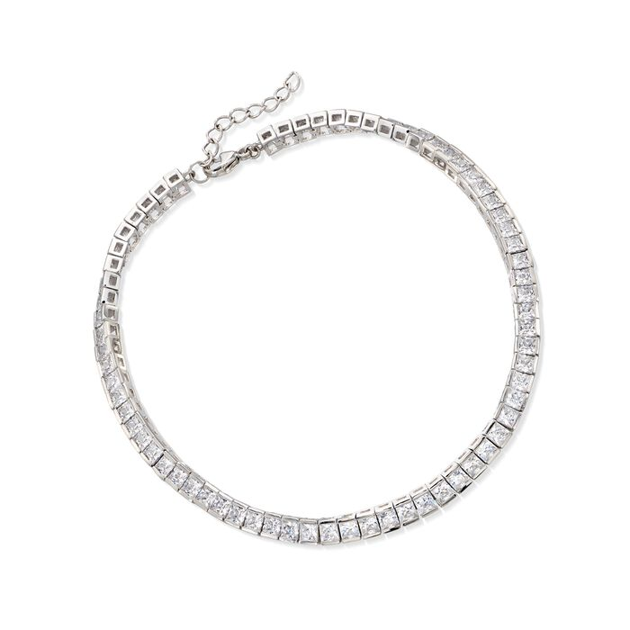 "10.35 ct. t.w. Princess-Cut CZ Tennis Anklet in Sterling Silver. 9"", , default"