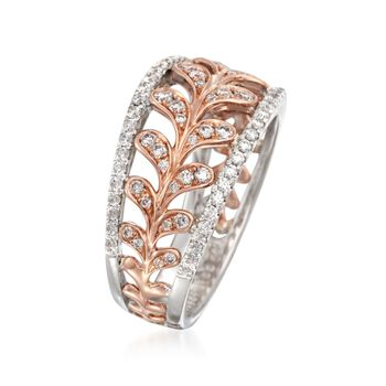 Simon G. .65 ct. t.w. Diamond Leaf Ring in 18kt Two-Tone Gold. Size 7, , default