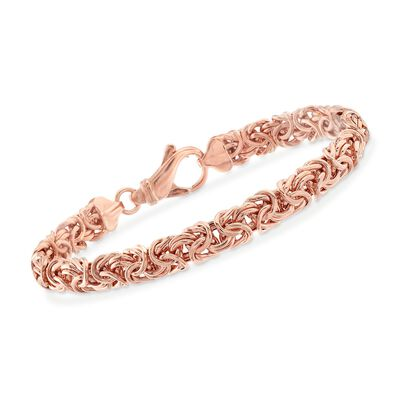 18kt Rose Gold Over Sterling Silver Byzantine Bracelet, , default