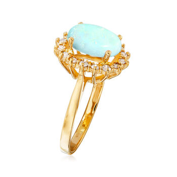 C. 1970 Vintage Opal and .35 ct. t.w. Diamond Ring in 14kt Yellow Gold. Size 8
